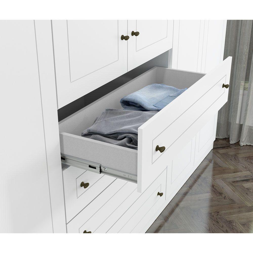 Conjunto com Guarda-roupa Casal 6 Portas e Cômoda 4 Gavetas Americano Henn - Branco HP Fosco  - LOJA VENEZA