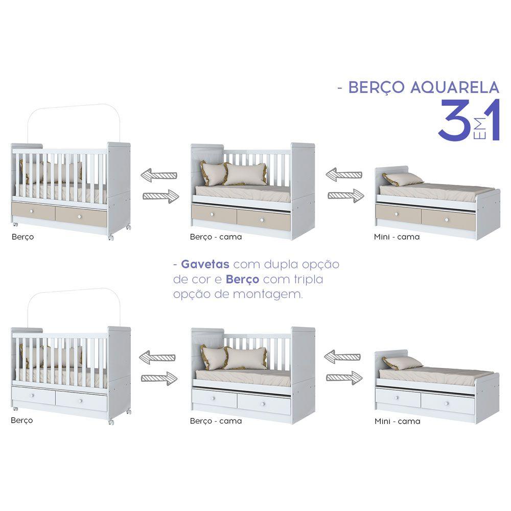 Conjunto Quarto de Bebê com Berço Mini-cama, Cômoda e Guarda-roupa Aquarela Henn - Branco  - LOJA VENEZA