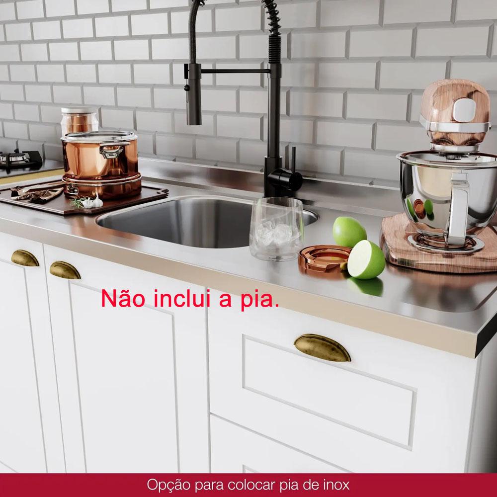 Cozinha Compacta 200cm Americana 3 peças 6 Portas 3 Gavetas Henn - Branco HP Fosco  - Loja Veneza