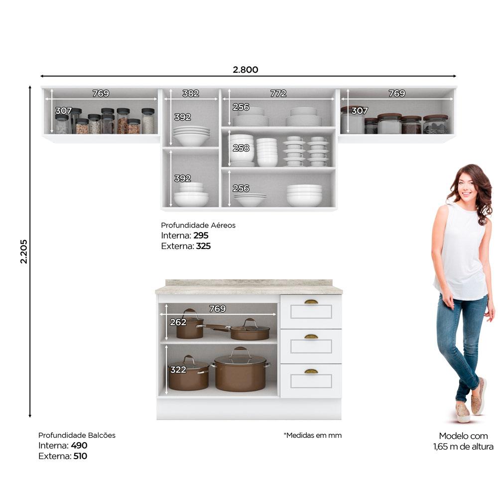 Cozinha Compacta 280cm Americana 4 peças 7 Portas 3 Gavetas Henn - Branco HP Fosco  - Loja Veneza