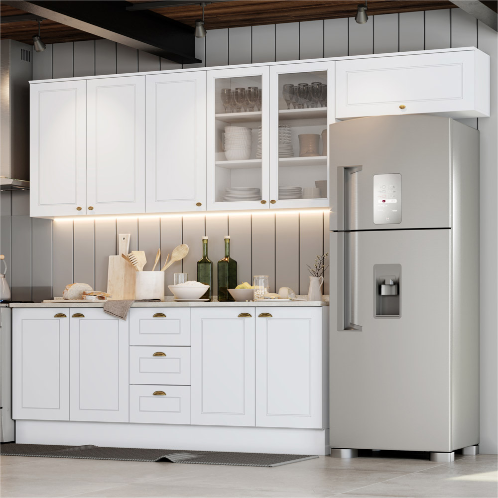 Cozinha Compacta 280cm Americana com Vidro 5 peças 10 Portas 3 Gavetas Henn - Branco HP Fosco  - Loja Veneza