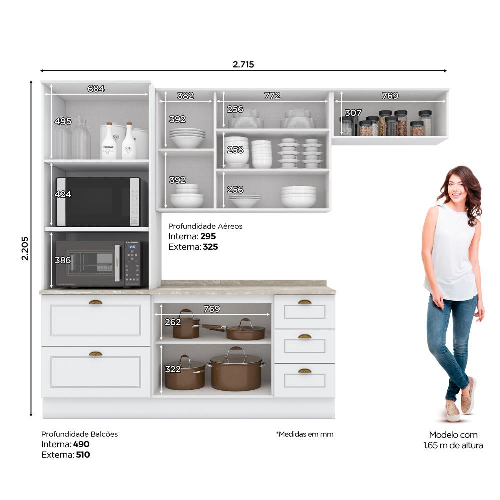 Cozinha Compacta 4 Peças com Torre Quente 8 Portas 5 Gavetas Americana Henn - Branco HP Fosco  - Loja Veneza