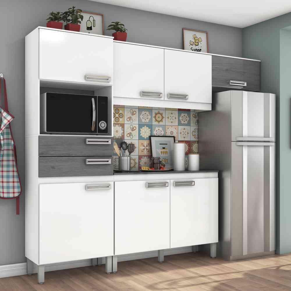 Cozinha Compacta 7 Portas 2 Gavetas Com Balcão Henn Briz B107 - Branco/Gris  - Loja Veneza