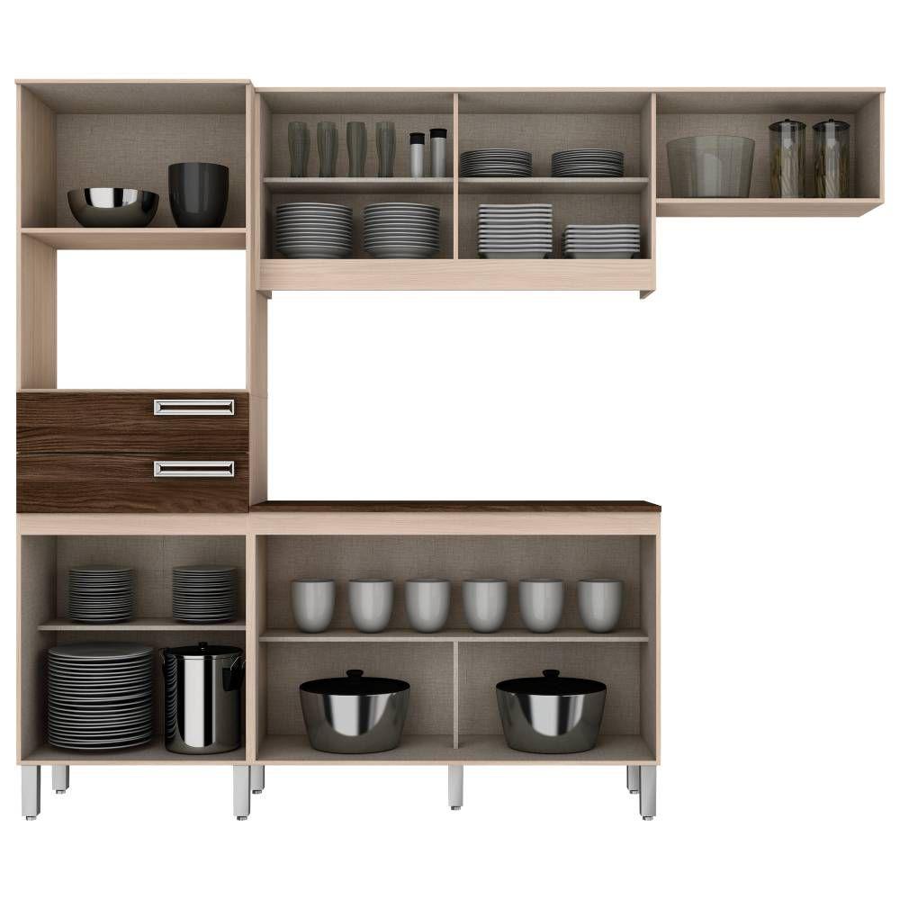 Cozinha Compacta 7 Portas 2 Gavetas Com Balcão Henn Briz B107 - Fendi/Moka  - Loja Veneza