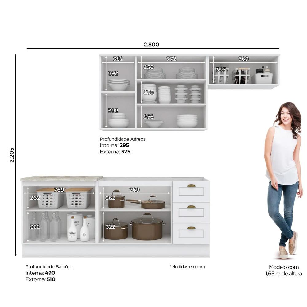 Cozinha Compacta Americana 4 peças Modulada 8 Portas 3 Gavetas Henn - Branco HP Fosco  - Loja Veneza