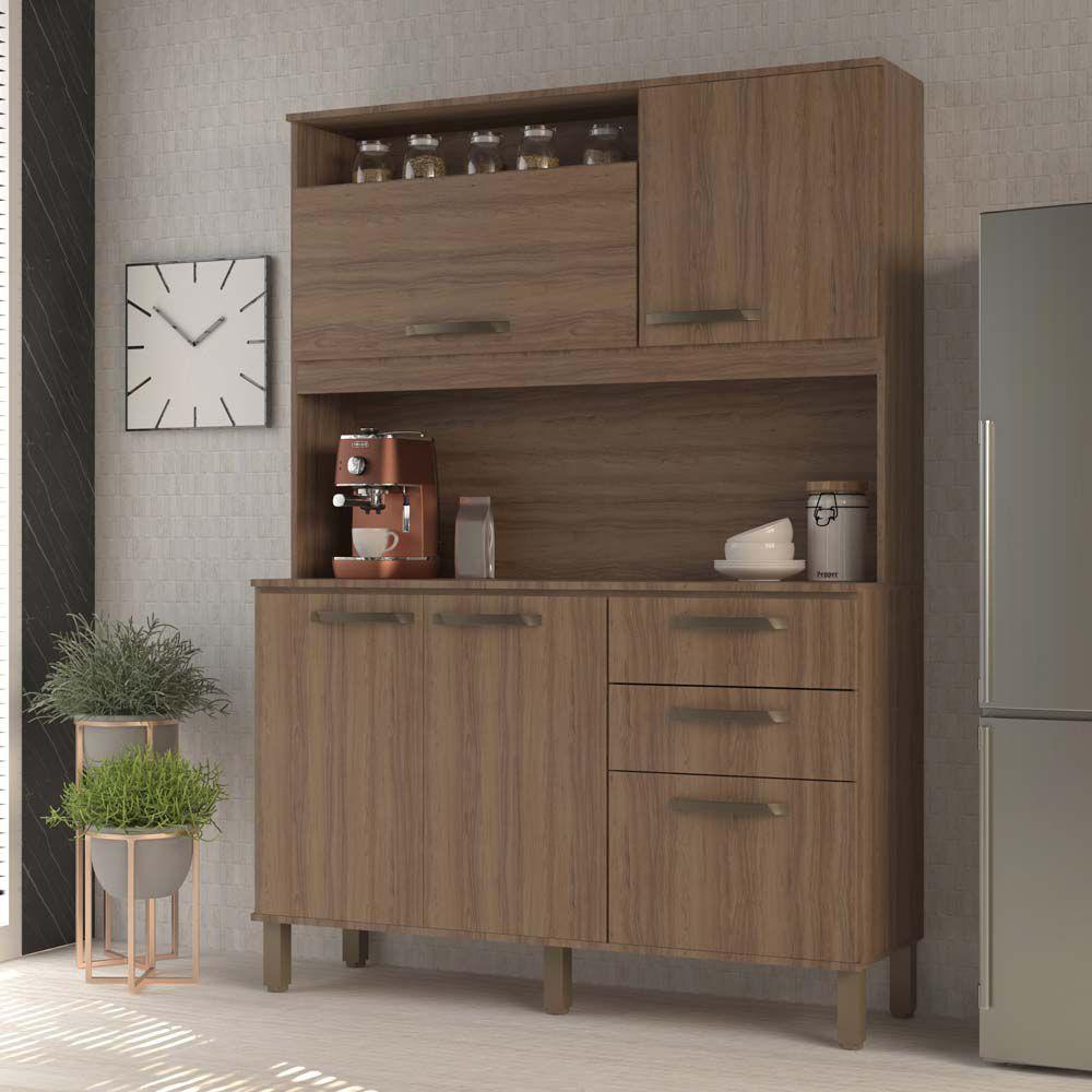 Cozinha Compacta Kely 5 Portas 2 Gavetas Luciane - Vanilla  - LOJA VENEZA