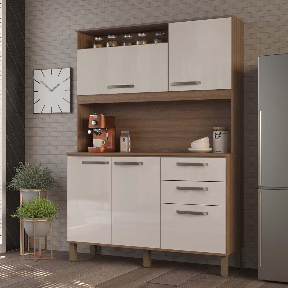 Cozinha Compacta Kely 5 Portas 2 Gavetas Luciane - Vanilla/Pérola Off  - LOJA VENEZA