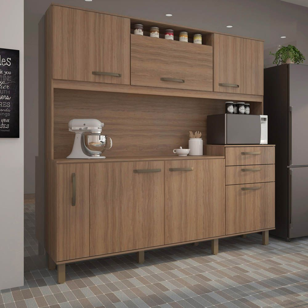 Cozinha Compacta Lilian 6 Portas, 2 Gavetas e Porta Condimentos Luciane - Vanilla  - LOJA VENEZA