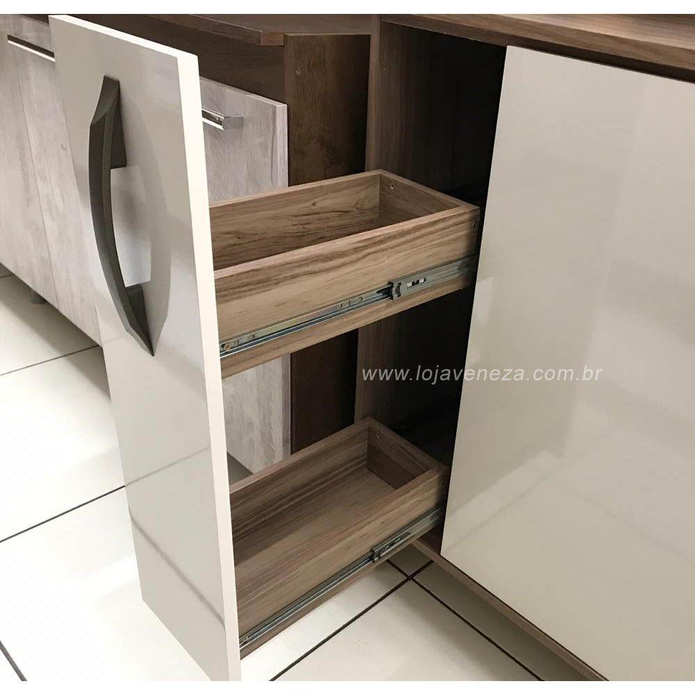 Cozinha Compacta Lilian 6 Portas, 2 Gavetas e Porta Condimentos Luciane - Vanilla/Pérola Off  - LOJA VENEZA