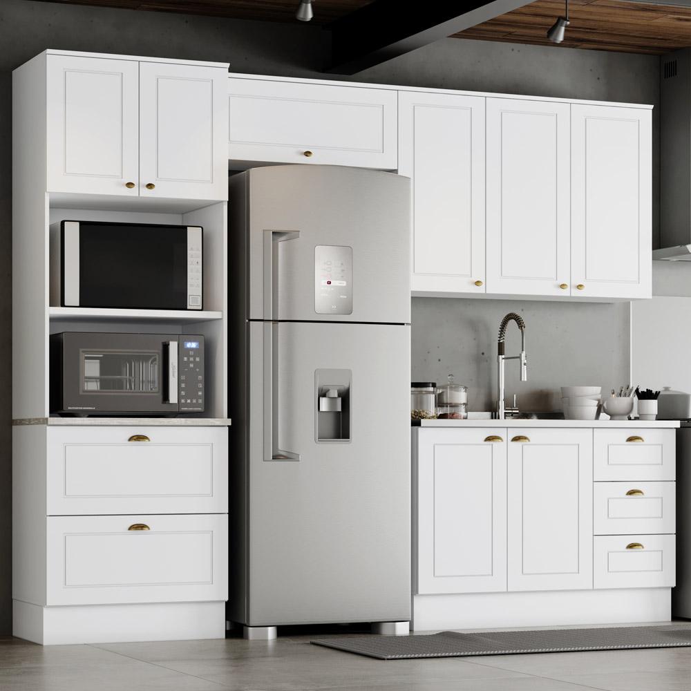 Cozinha Modulada 4 Peças com Torre Quente 8 Portas 5 Gavetas Americana Henn - Branco HP Fosco  - Loja Veneza