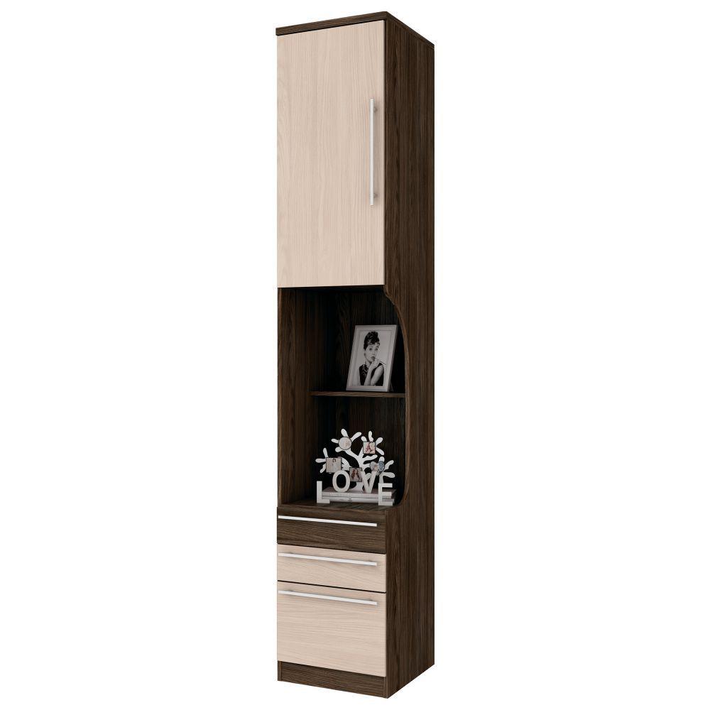 Criado-mudo Modulado 3 Gavetas 1 Porta Henn Diamante - Moka/Fendi  - Loja Veneza