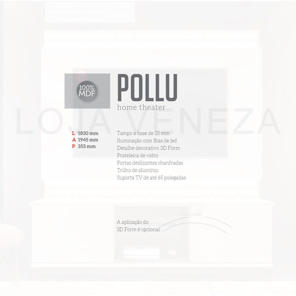 Estante Home de MDF para TV até 65 Pol. Pollu DJ Móveis com LED - Creme/Castanne  - LOJA VENEZA