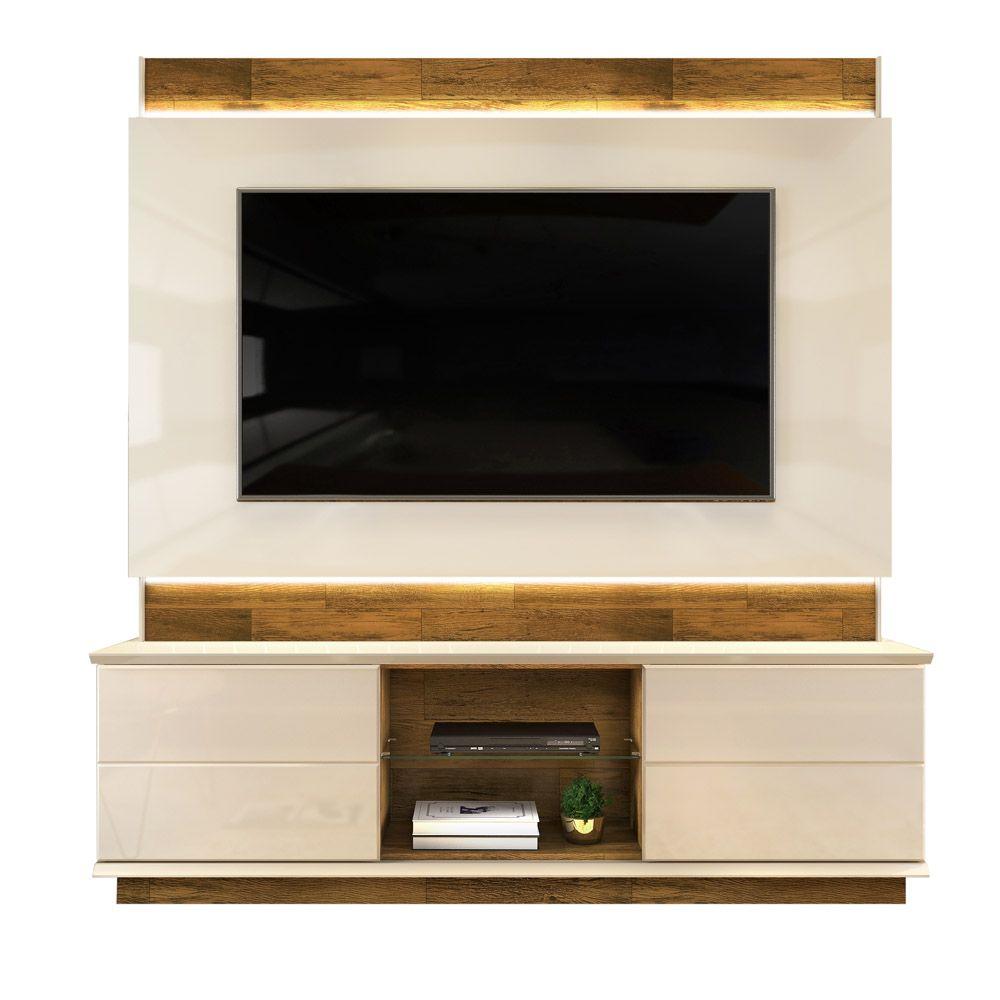 Estante Home de MDF para TV até 65 Pol. Pollu DJ Móveis com LED - Creme/Tronco Ripado  - LOJA VENEZA