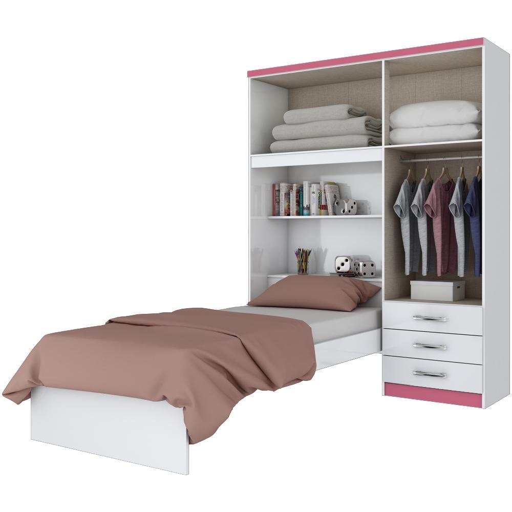 Guarda-roupa 4 Portas com Cama Solteiro Embutida Henn Cravo - Flex Color Branco/Rosa  - Loja Veneza