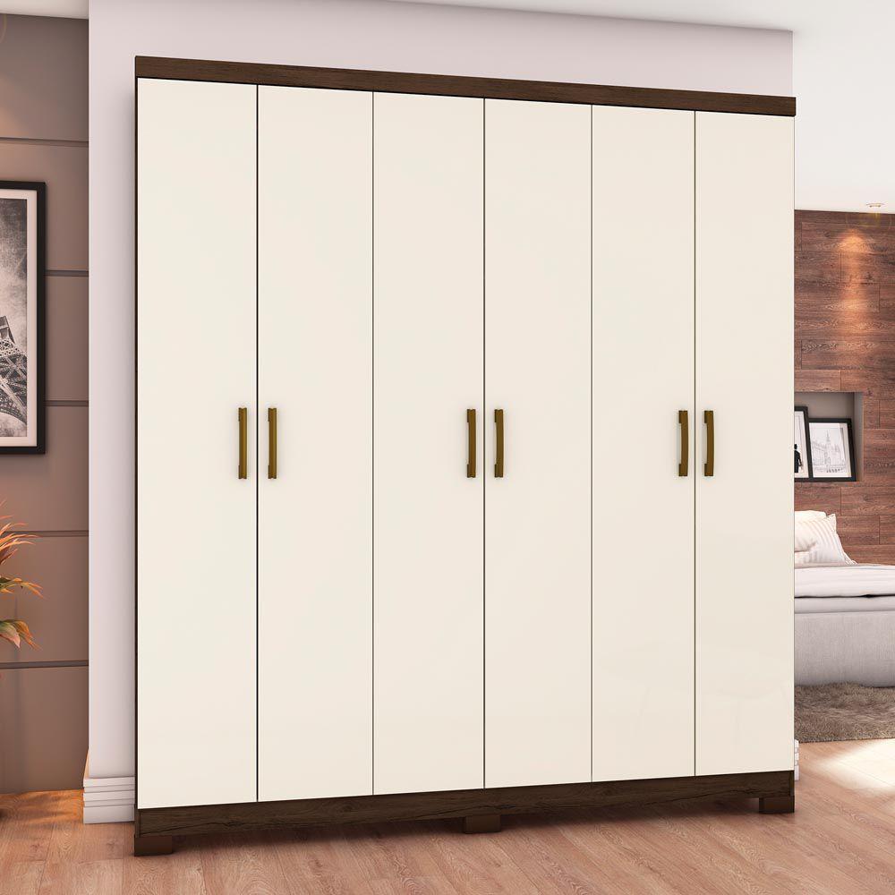 Guarda-roupa 6 Portas Briz B50 - Café/Off White
