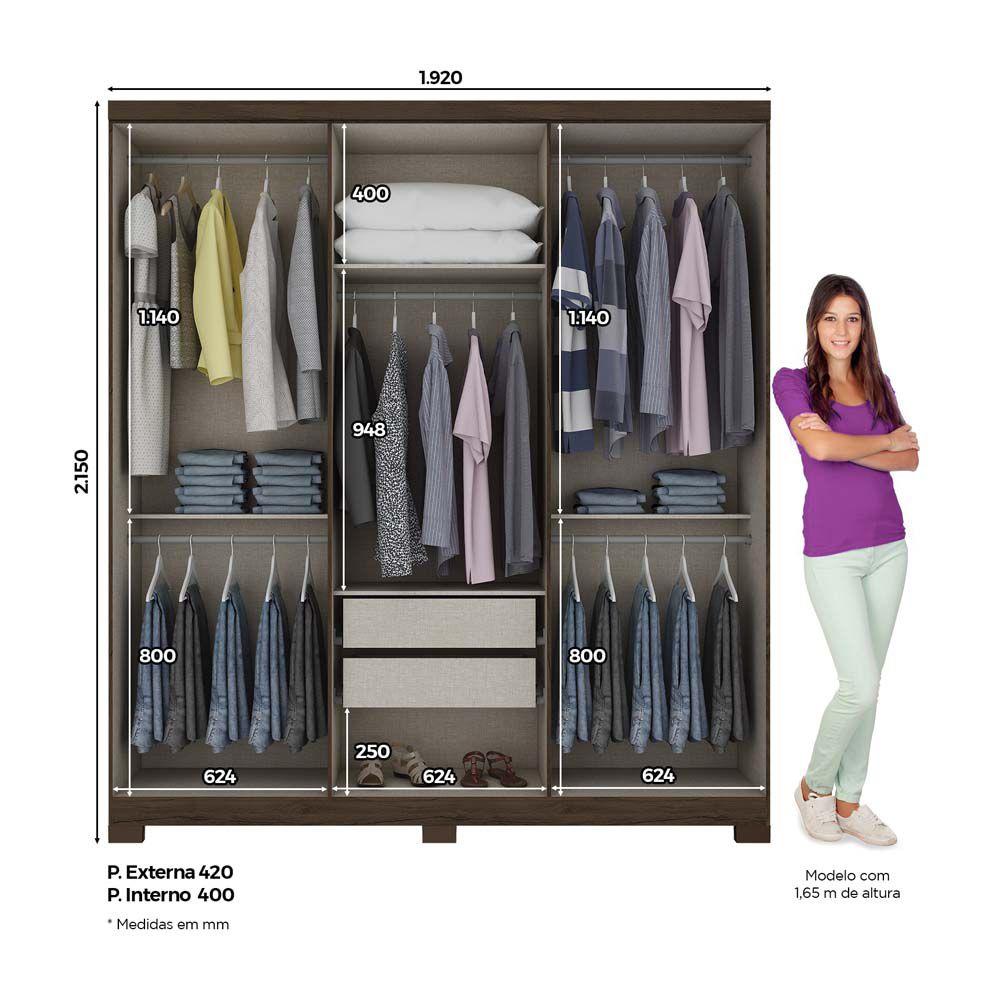 Guarda-roupa 6 Portas Briz B50 - Café/Off White  - Loja Veneza