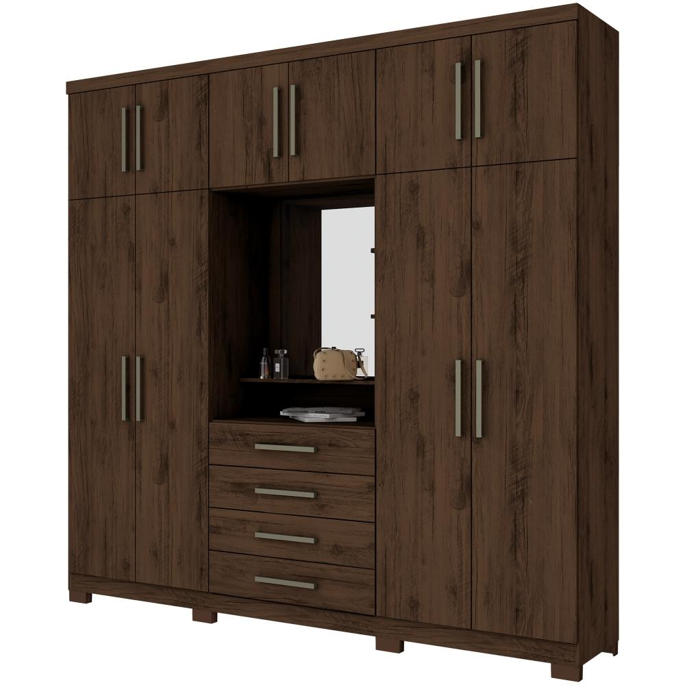 Guarda-roupa Casal 10 Portas 4 Gavetas com Espelho Henn Viena - Café  - Loja Veneza