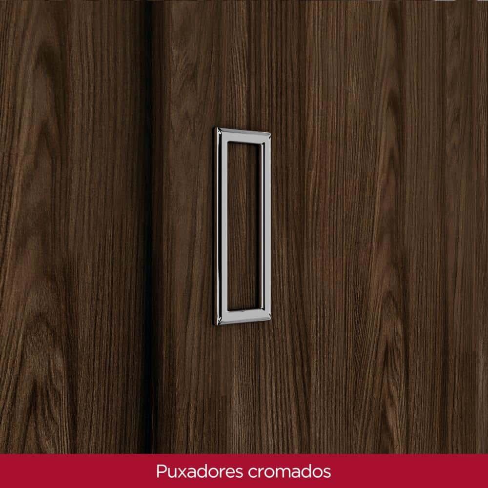 Guarda Roupa Casal 3 Portas de Correr 9 Gavetas Henn Uran - Moka/Fendi  - Loja Veneza