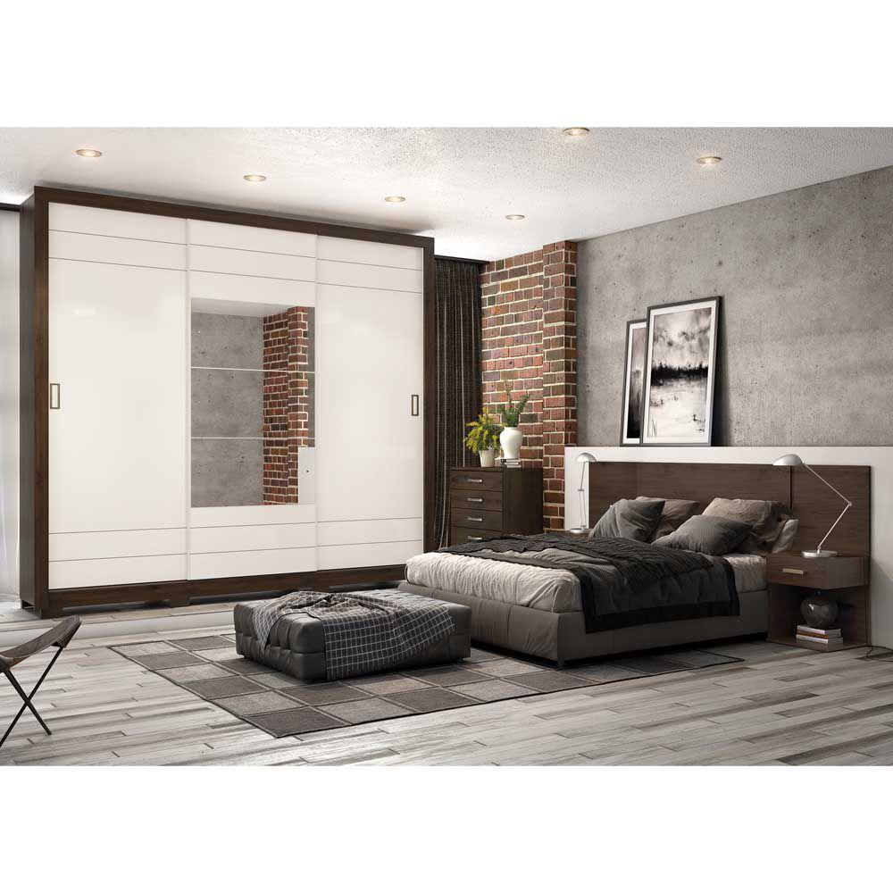 Guarda-roupa Casal Avenida com Espelho 3 Portas de Correr Henn - Café/Off White  - LOJA VENEZA