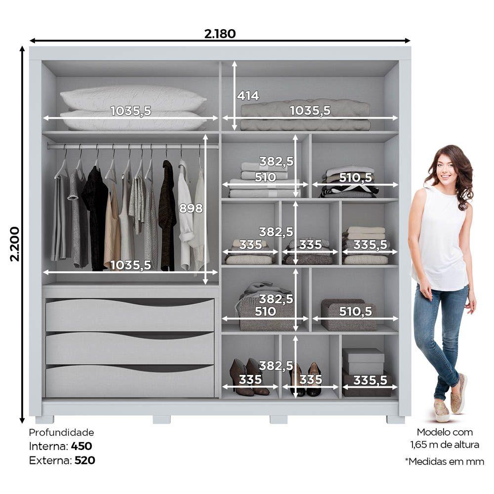 Guarda-roupa Casal com Espelho 2 Portas de Correr Delicato Henn - Branco HP Fosco  - LOJA VENEZA