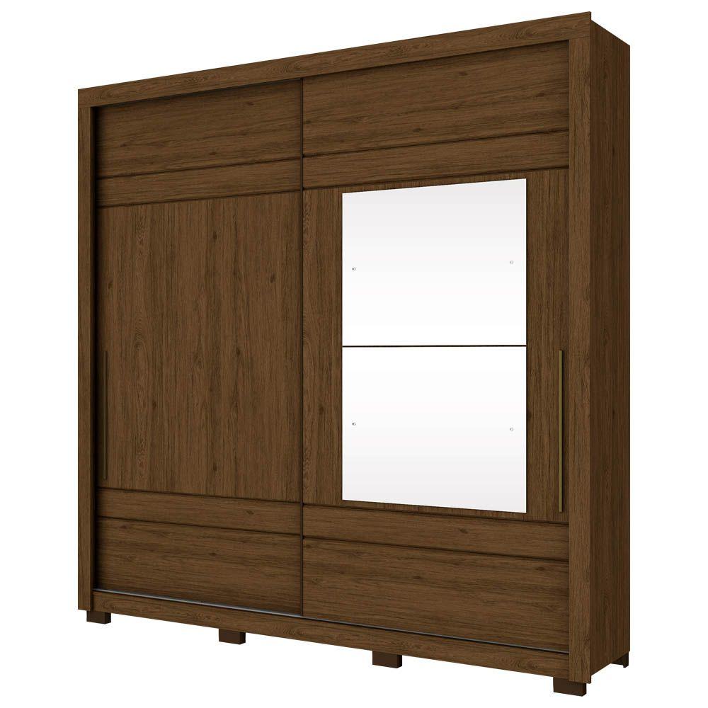 Guarda-roupa Casal com Espelho 2 Portas de Correr Delicato Henn - Castanho HP  - LOJA VENEZA