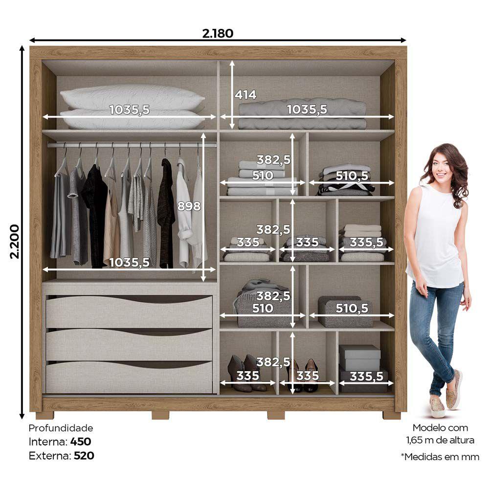 Guarda-roupa Casal com Espelho 2 Portas de Correr Delicato Henn - Rústico/Off White  - LOJA VENEZA