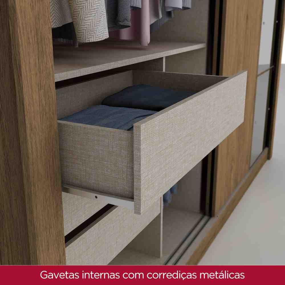 Guarda-roupa Casal com Espelho 2 Portas de Correr Henn Dakar - Rústico  - Loja Veneza