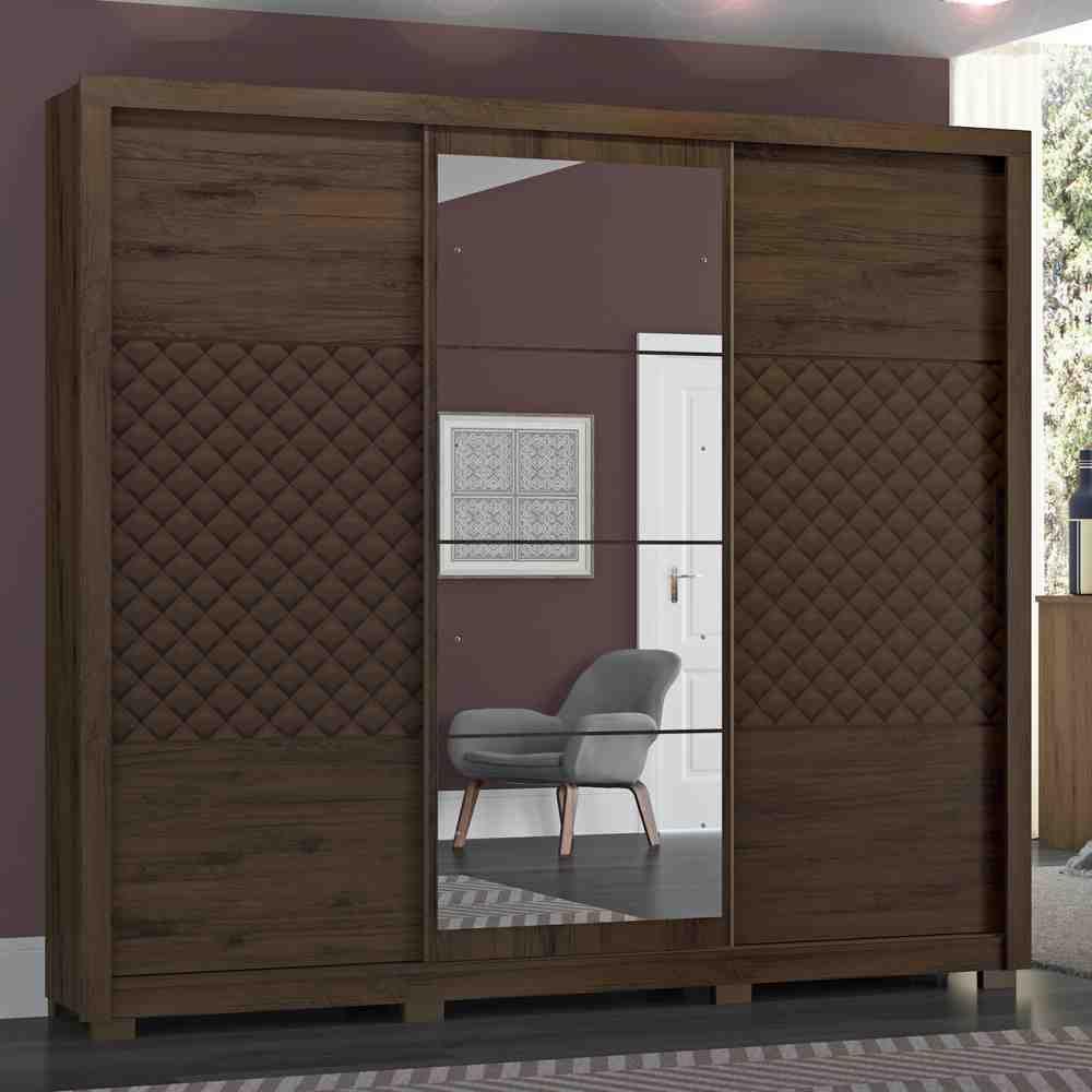 Guarda-roupa Casal com Espelho 3 Portas de Correr Henn Cancun - Café  - Loja Veneza