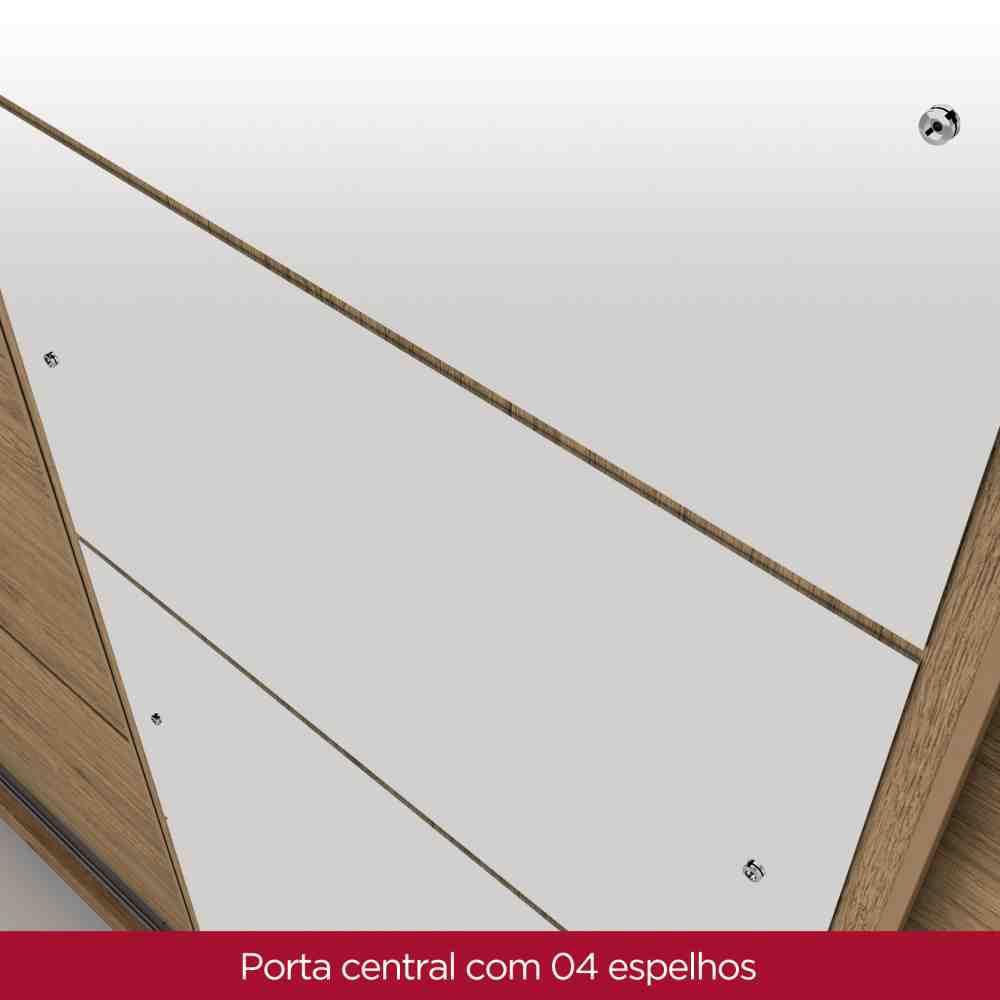 Guarda-roupa Casal com Espelho 3 Portas de Correr Henn Cancun - Rústico  - Loja Veneza