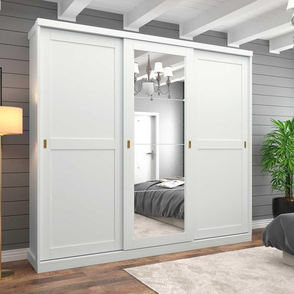 Guarda-roupa Casal com Espelho 3 Portas de Correr Olimpya Henn - Branco HP  - LOJA VENEZA