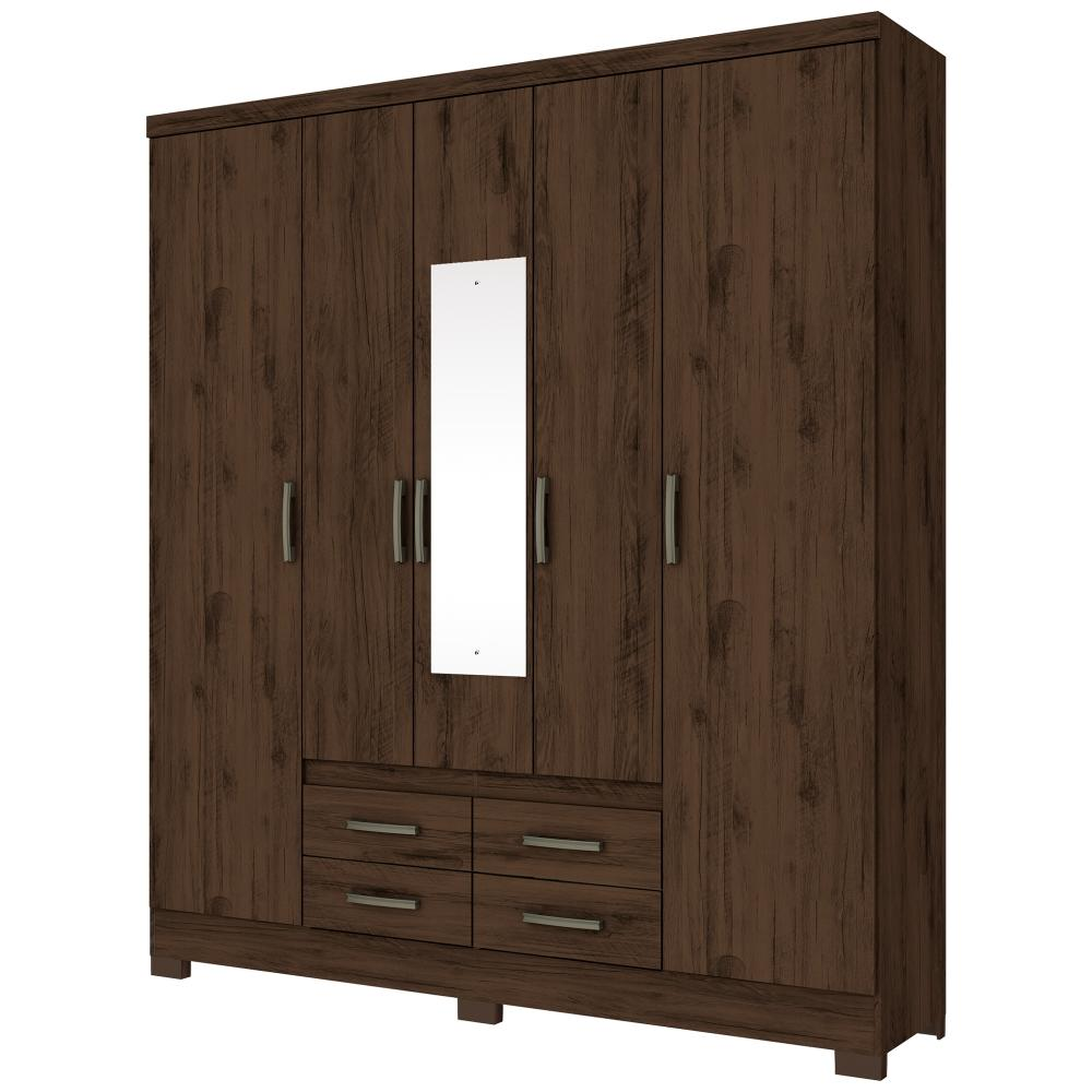 Guarda-roupa Casal com Espelho 5 Portas 4 Gavetas Henn Alba - Café  - Loja Veneza