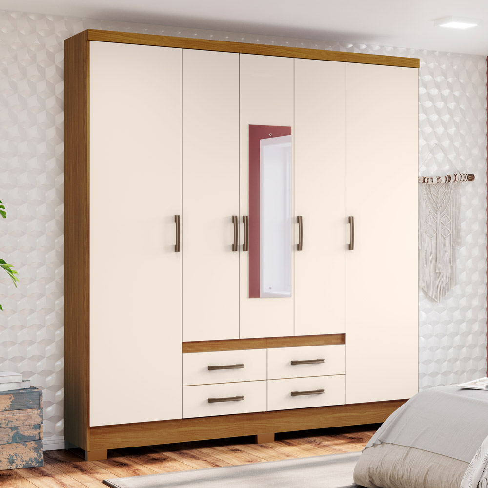Guarda-roupa Casal com Espelho 5 Portas 4 Gavetas Henn Alba - Nature/Off White  - Loja Veneza