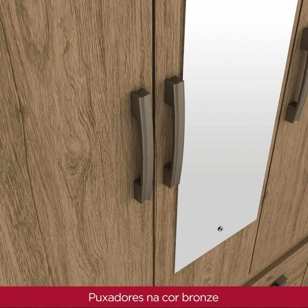 Guarda Roupa Casal com Espelho 5 Portas 4 Gavetas Henn Alba - Rústico  - Loja Veneza