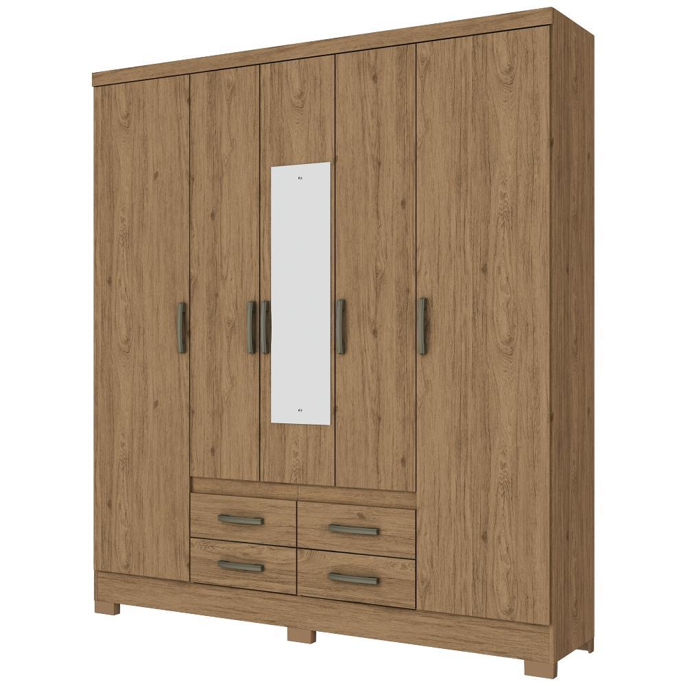 Guarda-roupa Casal com Espelho 5 Portas 4 Gavetas Henn Alba - Rústico
