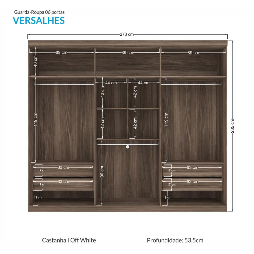 Guarda-roupa Casal Versalhes 6 Portas 4 Gavetas Santos Andirá - Castanha/Off White  - Loja Veneza