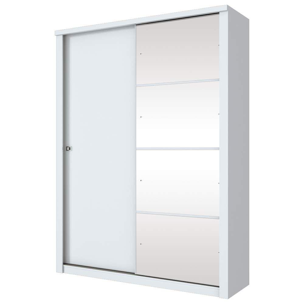 Guarda-roupa com Espelho 2 Portas de Correr Henn Alegro - Branco  - Loja Veneza
