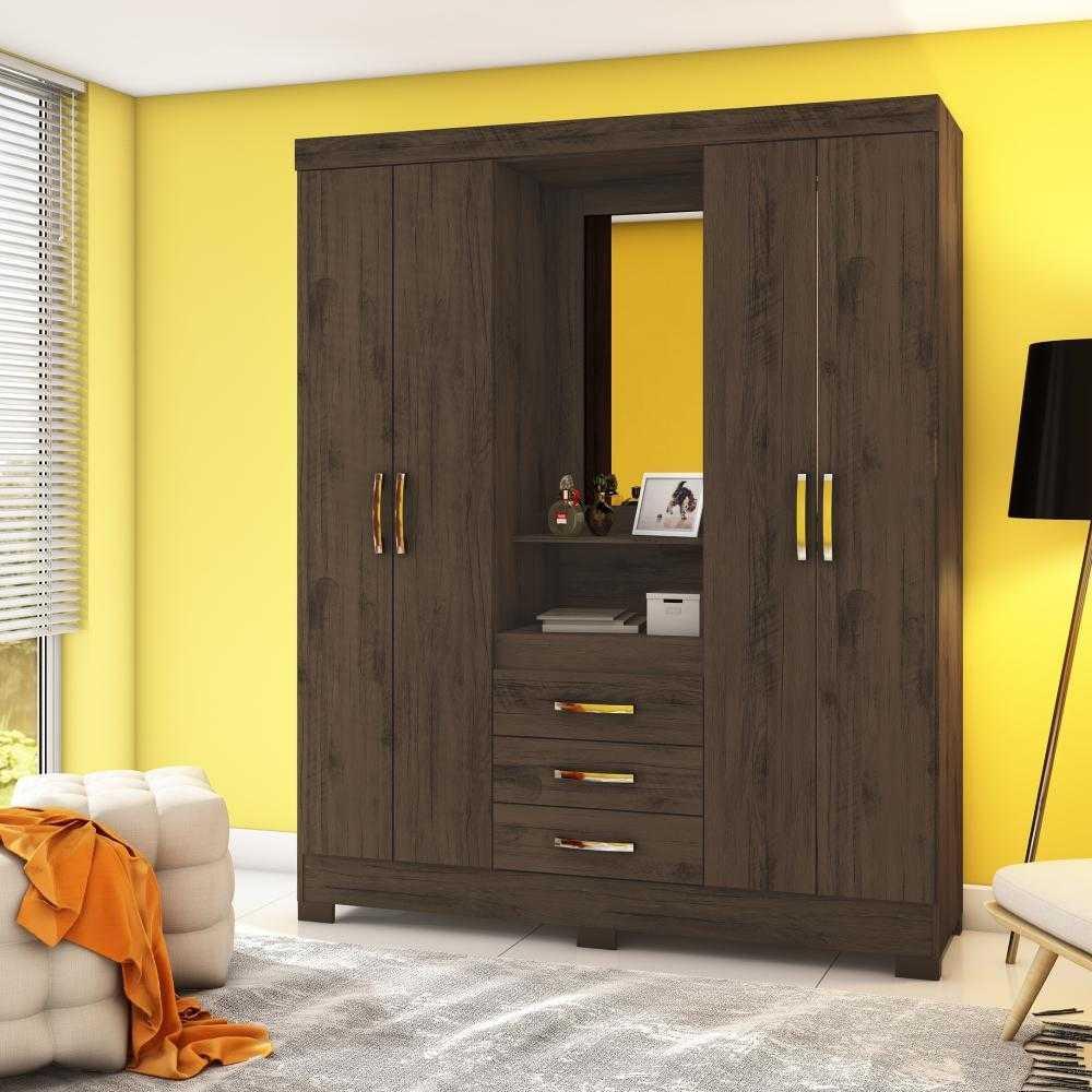 Guarda-roupa com Espelho 4 portas 3 gavetas Briz B24 - Café  - Loja Veneza