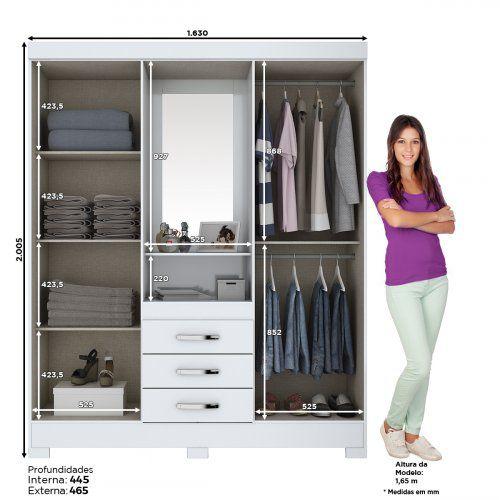 Guarda-roupa com Espelho 4 portas 3 gavetas Briz B24 - Flex Color Branco/Rosa  - Loja Veneza