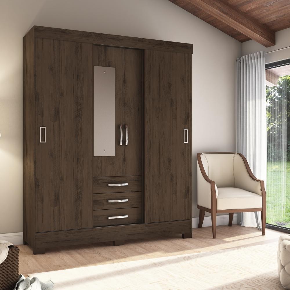 Guarda-roupa com Espelho 4 Portas 3 Gavetas Briz B61 - Flex Café/Branco  - Loja Veneza