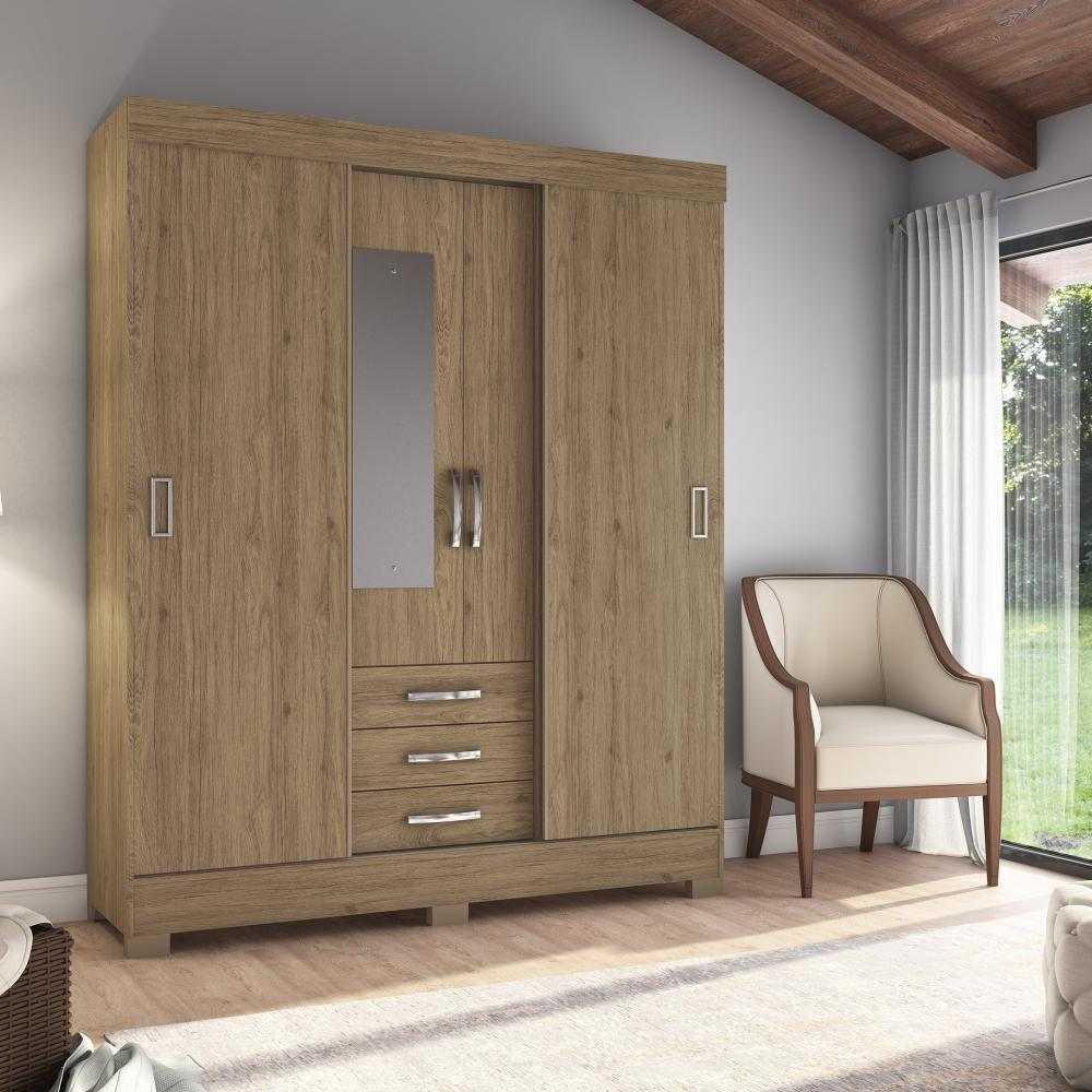 Guarda-roupa com Espelho 4 Portas 3 Gavetas Briz B61 - Flex Rústico/Fendi  - Loja Veneza