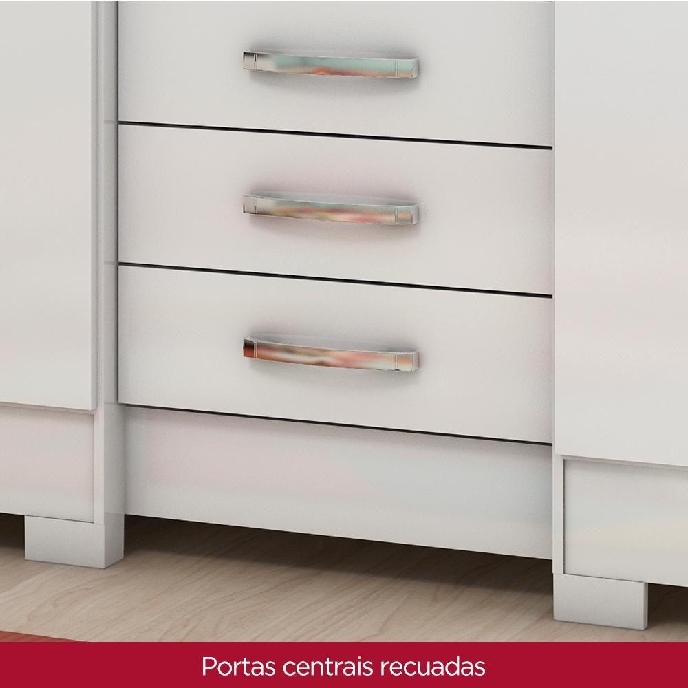Guarda-roupa com Espelho 6 portas 3 gavetas Briz B23 - Branco  - Loja Veneza