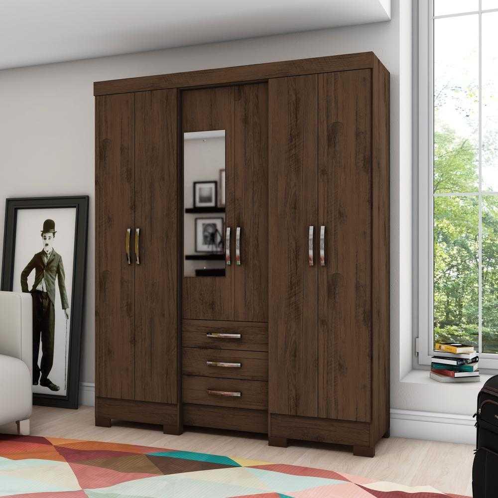 Guarda-roupa com Espelho 6 portas 3 gavetas Briz B23 - Café  - Loja Veneza