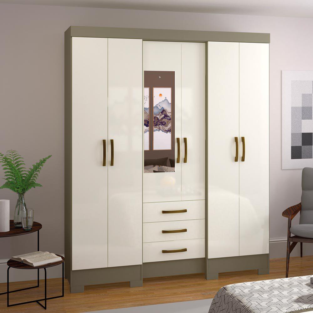 Guarda-roupa com Espelho 6 portas 3 gavetas Briz B23 - Duna/Off White  - Loja Veneza