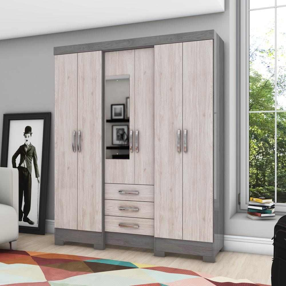 Guarda-roupa com Espelho 6 portas 3 gavetas Briz B23 - Gris/Palha  - Loja Veneza