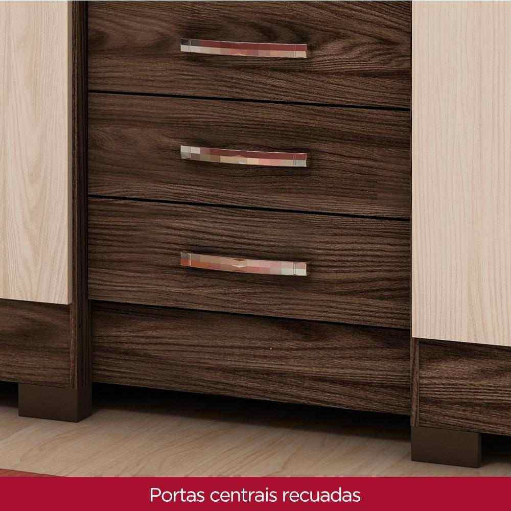 Guarda-roupa com Espelho 6 portas 3 gavetas Briz B23 - Moka/Fendi  - Loja Veneza