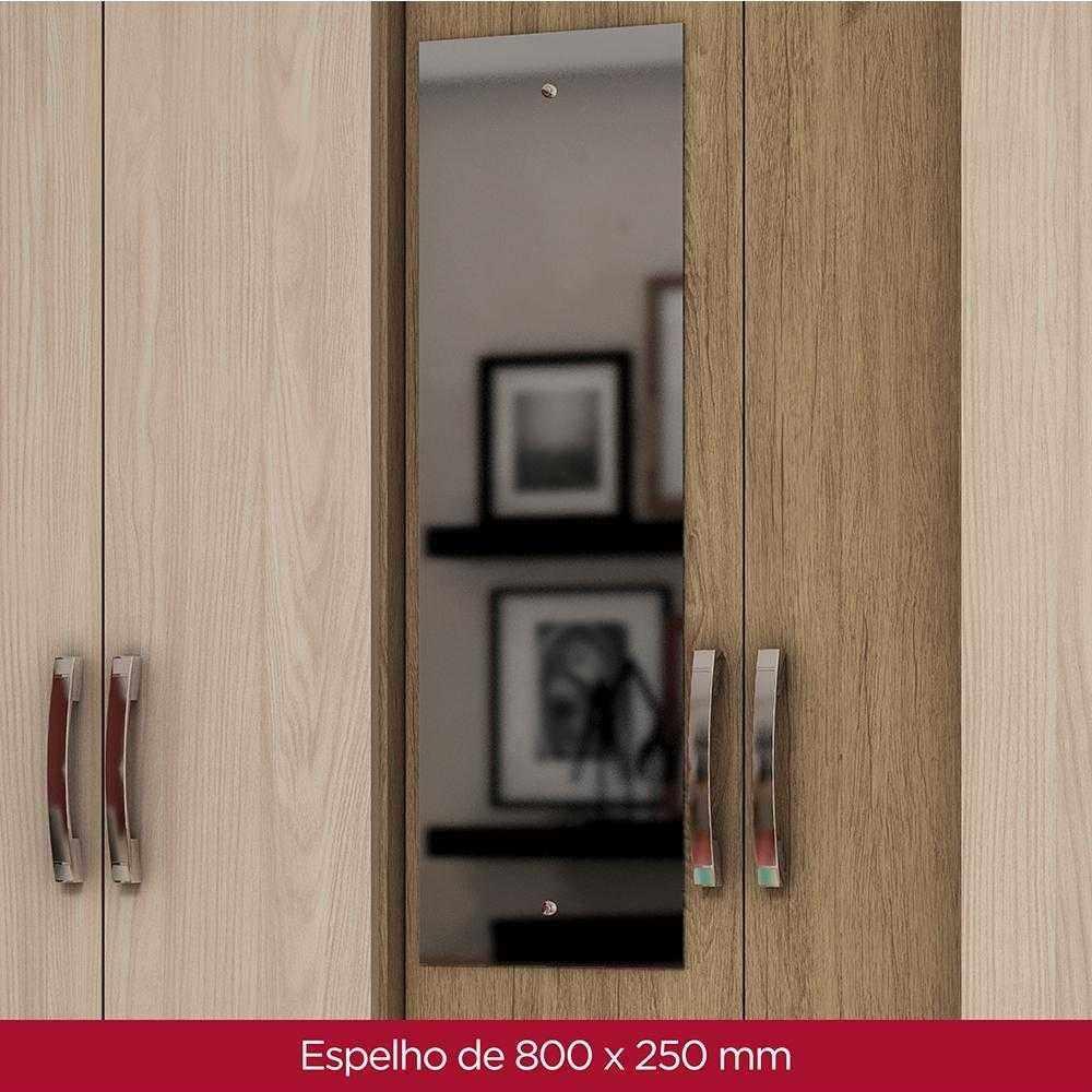 Guarda-roupa com Espelho 6 portas 3 gavetas Briz B23 - Rústico/Fendi  - Loja Veneza
