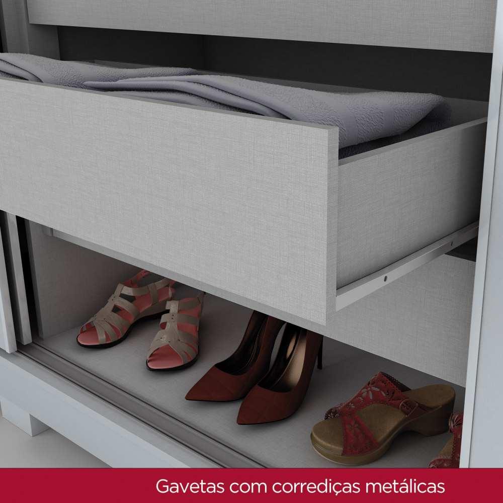 Guarda-roupa de Casal 3 Portas de Correr Henn Amaro - Branco HP/Silk Branco HP