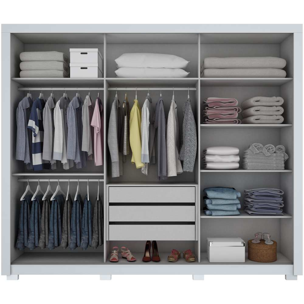 Guarda-roupa de Casal 3 Portas de Correr Henn Amaro - Branco HP/Silk Branco HP  - Loja Veneza