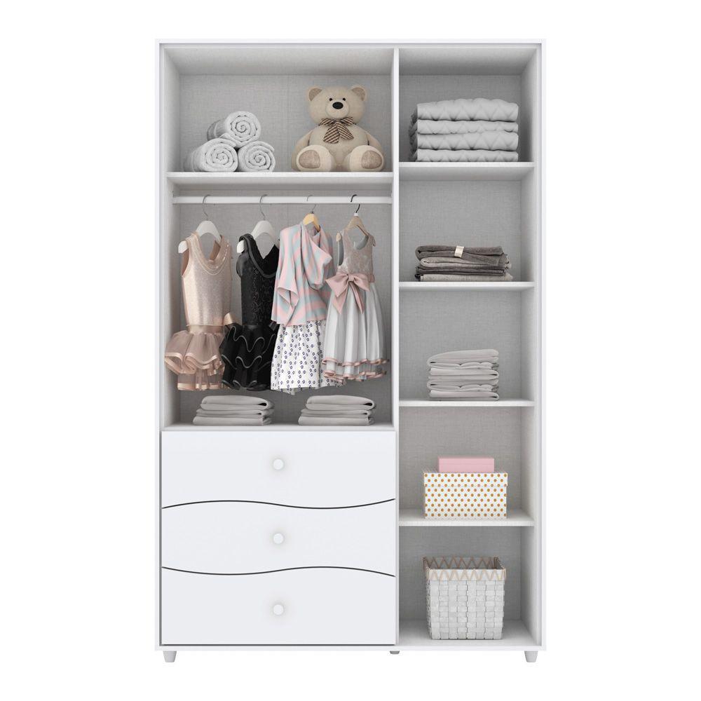 Guarda-roupa Infantil 3 Portas 3 Gavetas Adoleta - Henn Branco Flex Color  - LOJA VENEZA