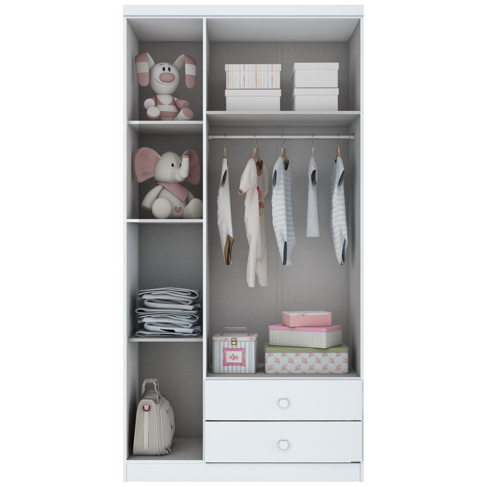 Guarda-roupa Infantil 3 Portas Henn Bala de Menta - Flex Color Branco/Rosa  - Loja Veneza